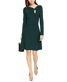 INC Asymmetrical-Neck Sweater Dress, Created For Macy's