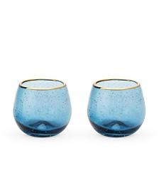 Twine Seaside Deep Bubble Stemless Wine Glass Set