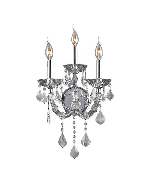 Worldwide Lighting Maria Theresa 3-Light Chrome Finish and Clear Crystal Candle Wall Sconce Light