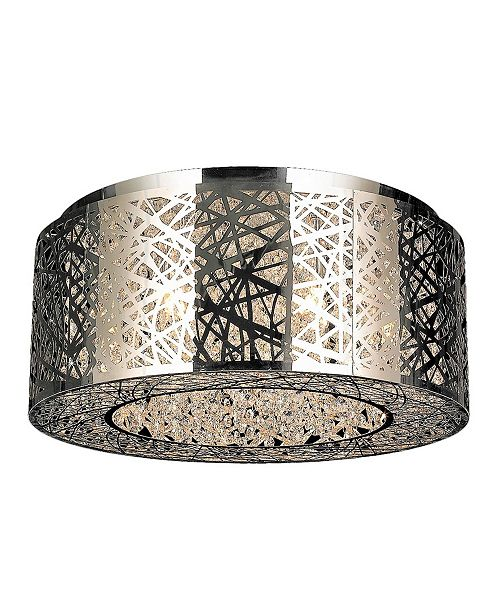 Worldwide Lighting Aramis 9-Light Chrome Finish Drum Shade with Clear Crystal Flush Mount Ceiling Light
