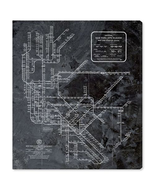 "Oliver Gal Ny Subway Map Dark Rustic Canvas Art, 20"" x 24"""