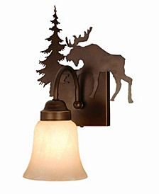Yellowstone 1 Light Rustic Moose Vanity Light