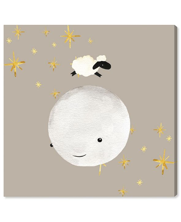 """Oliver Gal Sheep Jumping Over The Moon Canvas Art, 12"""" x 12"""""""