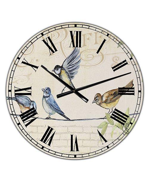 "Designart Birds Gathered On Wire Paris I Large Cottage Wall Clock - 36"" x 28"" x 1"""