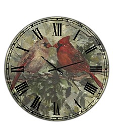 """Kissing Cardinals Large Cottage Wall Clock - 36"""" x 28"""" x 1"""""""