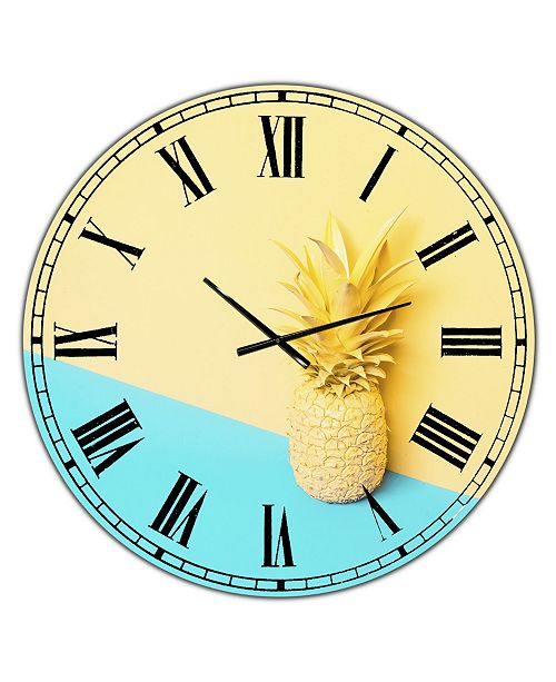 "Designart Pink and Blue Pineapple Large Modern Wall Clock - 36"" x 28"" x 1"""