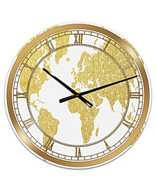 "Golden Map of the Earth Large Fashion Wall Clock - 36"" x 28"" x 1"""
