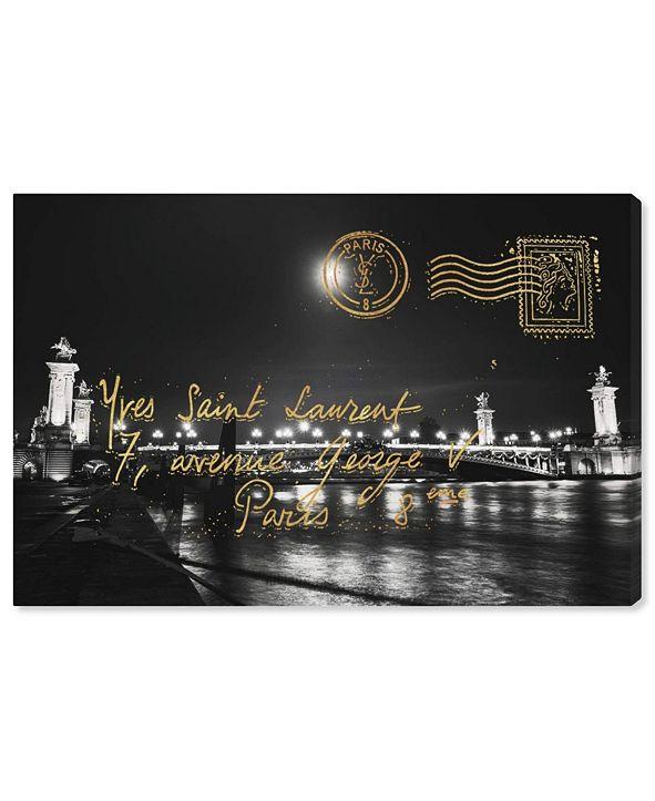 """Oliver Gal Paris Gold Letter Canvas Art, 36"""" x 24"""""""