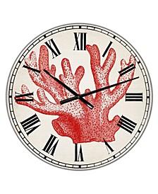 "Red Coral 3 Oversized Nautical & Coastal Wall Clock - 36"" x 28"" x 1"""