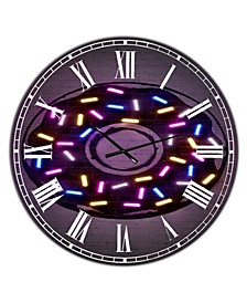 "Neon Sugar Fantasy Donut Large Modern Wall Clock - 23"" x 23"" x 1"""