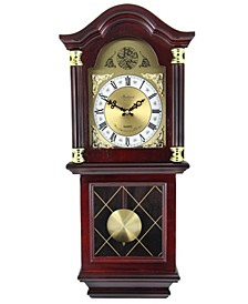 "Clock Collection 26"" Antique Chiming Wall Clock with Roman Numerals"