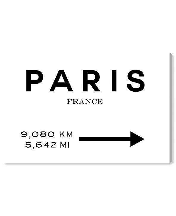 """Oliver Gal 21016 Paris Road Sign Canvas Art, 45"""" x 30"""""""