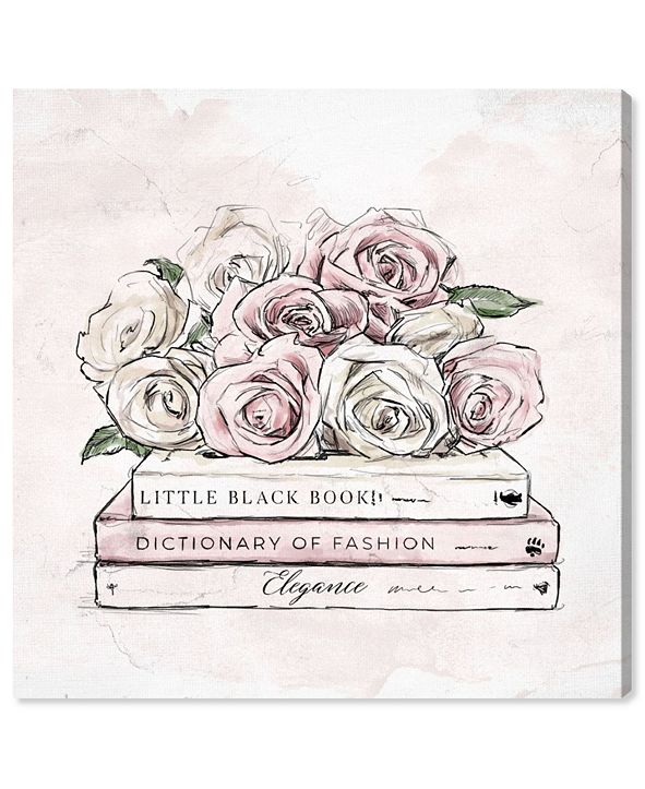 "Oliver Gal Roses and Books Canvas Art, 12"" x 12"""