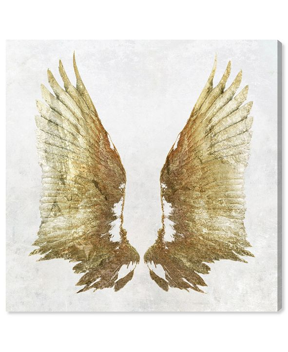 "Oliver Gal Golden Wings Light Canvas Art, 16"" x 16"""