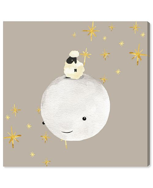 """Oliver Gal Sheep and Moon Best Friends Canvas Art, 16"""" x 16"""""""