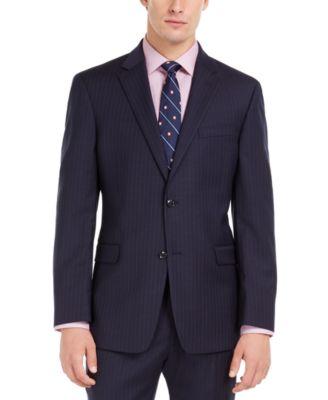 Men's Modern-Fit THFlex Stretch Navy Pinstripe Suit Jacket