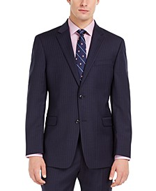 Men's Modern-Fit THFlex Stretch Navy Pinstripe Suit Jacket