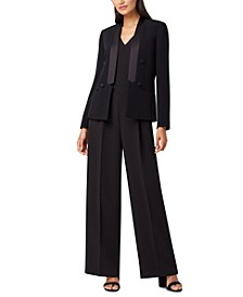Petite Satin Shawl-Collar Jacket & Tuxedo Jumpsuit