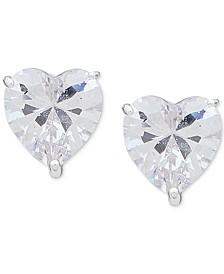 Silver-Tone Crystal Heart Stud Earrings