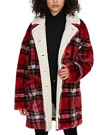 Sierra Plaid Faux-Fur Coat