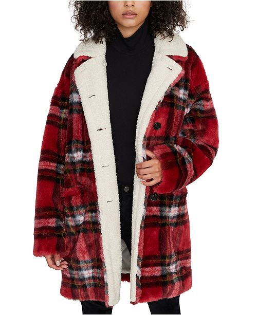 Sanctuary Sierra Plaid Faux-Fur Coat