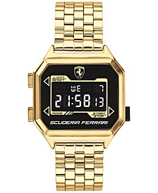 Men's Digital Digidrive Gold-Tone Stainless Steel Bracelet Watch 34mm