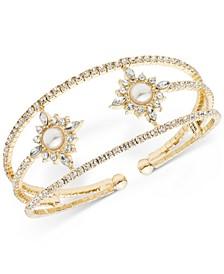 Gold-Tone Crystal & Imitation Pearl Flower Open Cuff Bracelet