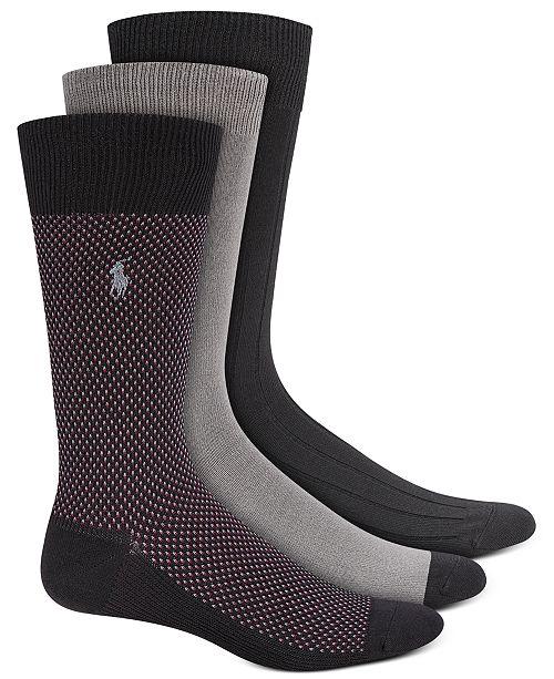 Polo Ralph Lauren Men's Birdseye Dress Socks, 3 Pack