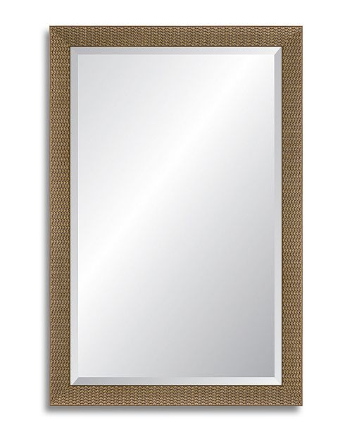 "Reveal Frame & Decor Reveal Natural Basketweave Beveled Wall Mirror - 24.5"" x 37.5"""