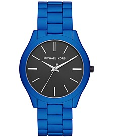 Men's Slim Runway Matte Electric Blue Stainless Steel Bracelet Watch 44mm