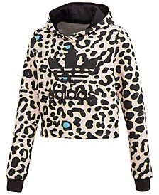 Big Girls Leopard-Print Cropped Hoodie