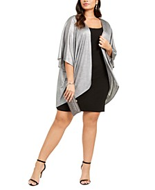 Trendy Plus Size Shift Dress & Metallic Cover-Up