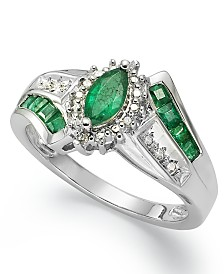Precious Gemstone (1-1/5 ct. t.w.) and Diamond Accent Ring in Sterling Silver (in Ruby or Emerald)