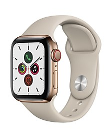 Apple Watch Series 5 GPS + Cellular, 40mm Gold Stainless Steel Case with Stone Sport Band