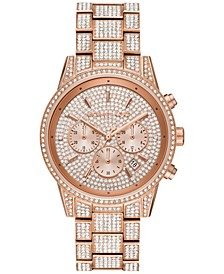 Women's Chronograph Ritz Rose Gold-Tone Stainless Steel Pavé Bracelet Watch 41mm