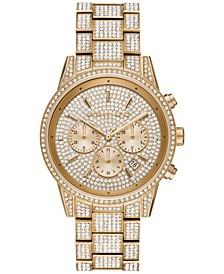 Women's Chronograph Ritz Gold-Tone Stainless Steel Pavé Bracelet Watch 41mm