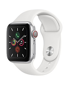 Apple Watch Series 5 GPS + Cellular, 40mm Silver Aluminum Case with White Sport Band