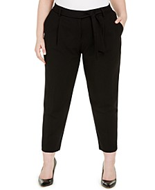 Plus Size Belted Straight-Leg Pants