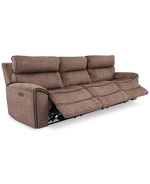 Furniture Hutchenson 3-Pc. Fabric Sectional with 3 Power Recliners and Power Headrests