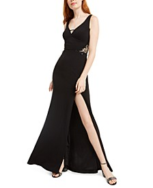Juniors' Embellished-Appliqué Slit Gown