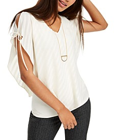 Juniors' Tie-Sleeve Layered-Look Top