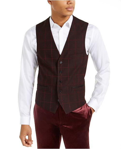 INC International Concepts INC Men's Slim-Fit Windowpane Vest, Created For Macy's