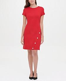 Buttoned Scuba Crepe Sheath Dress