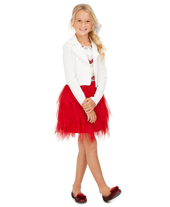 Beautees Big Girls 3-Pc. Moto Jacket, Sequined Fairy Dress & Sequined Bow Set