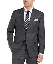 Men's Modern-Fit THFlex Stretch Gray/Blue Plaid Suit Jacket