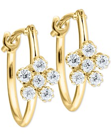 Child's Cubic Zirconia Flower Hoop Earrings in 14k Gold