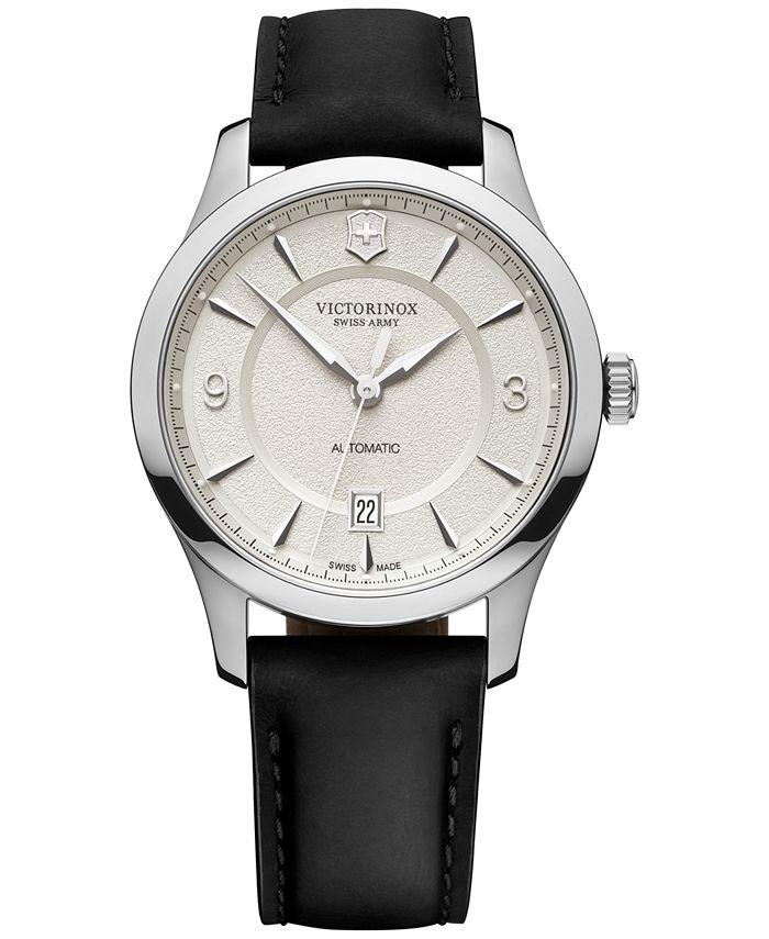 Victorinox Swiss Army - Men's Automatic Alliance Mechanical Black Leather Strap Watch 40mm
