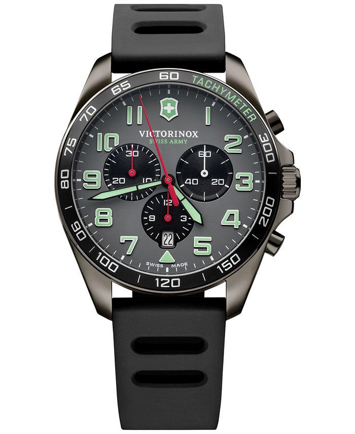 Victorinox Swiss Army - Men's Chronograph Fieldforce Sport Black Rubber Strap Watch 42mm