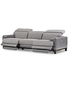 CLOSEOUT! Madiana 3-Pc. Fabric and Leather Sectional with 2 Power Recliners, Created for Macy's
