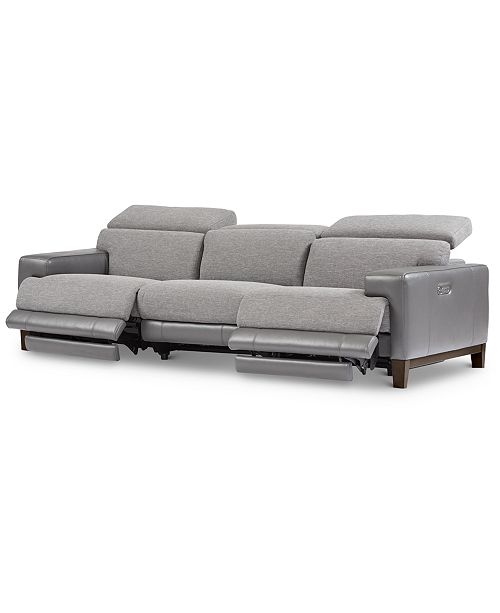 Furniture Madiana 3-Pc. Fabric and Leather Sectional with 2 Power Recliners, Created For Macy's